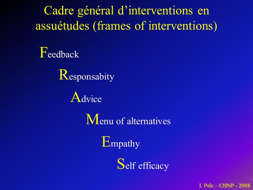 Cadre général d'interventions en assuétudes (frames of interventions)