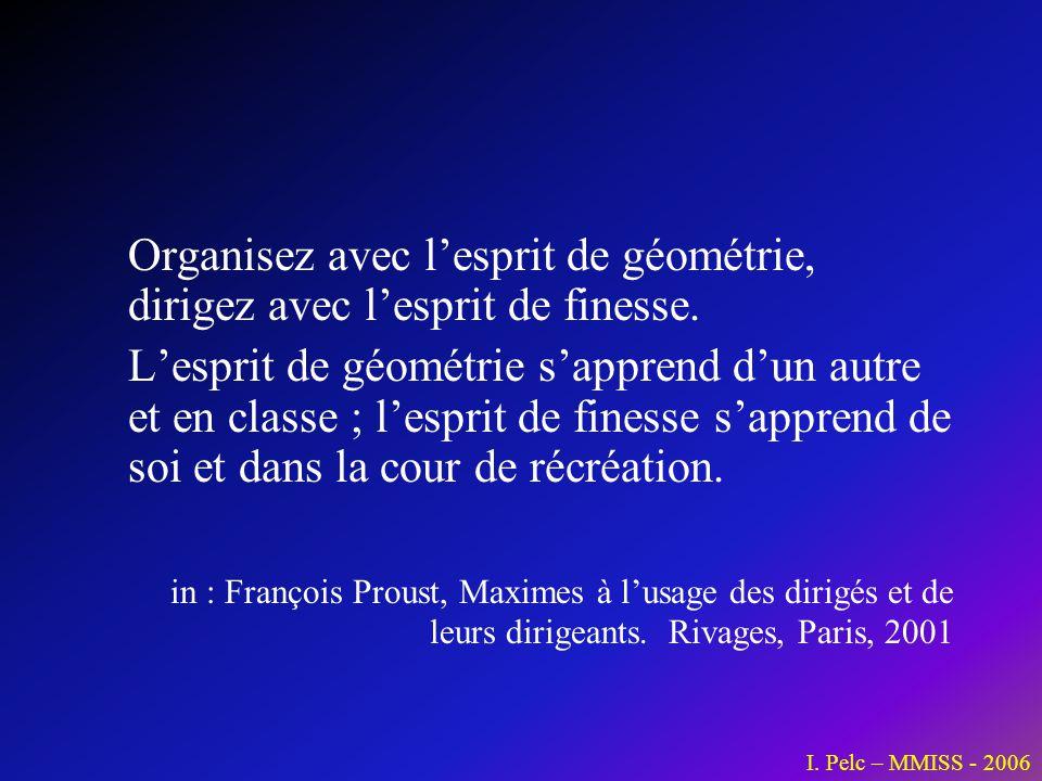 Organisez avec l'esprit de géométrie, dirigez avec l'esprit de finesse.