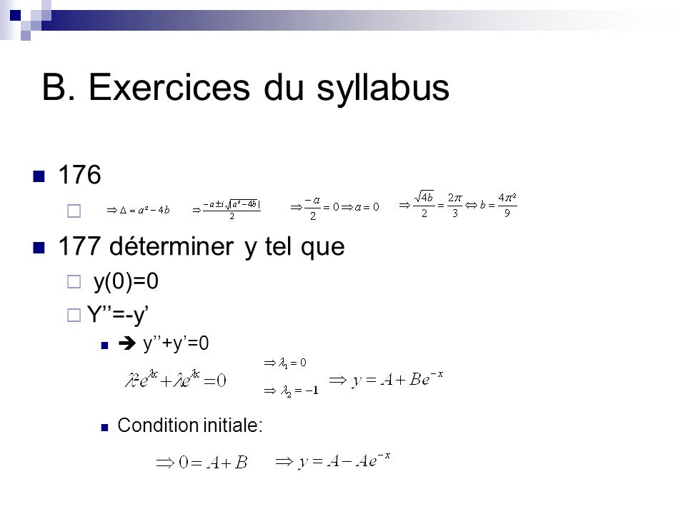 B. Exercices du syllabus