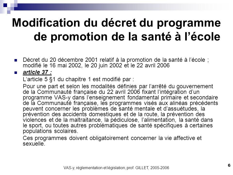 Modification du décret du programme de promotion de la santé à l'école