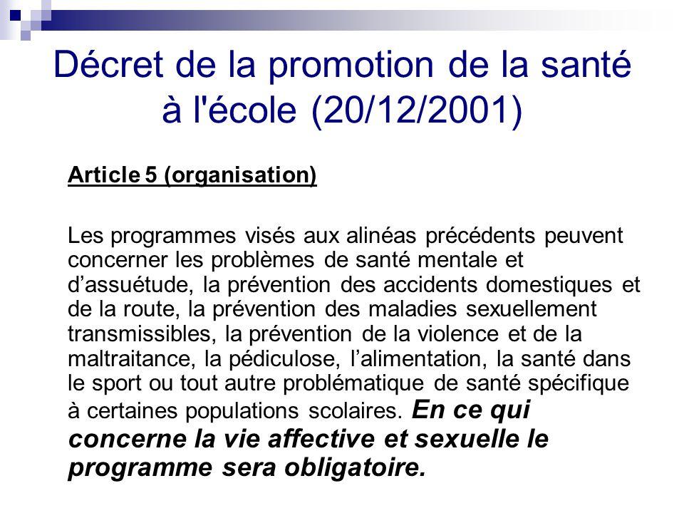 Décret de la promotion de la santé à l école (20/12/2001)