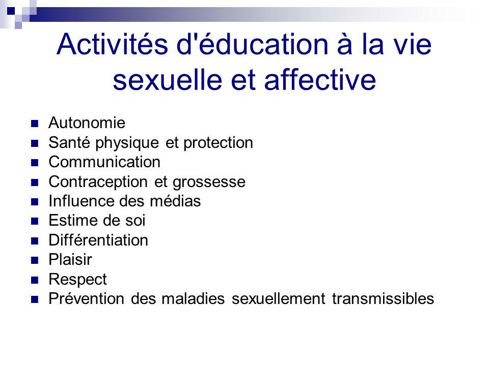 Activités d éducation à la vie sexuelle et affective