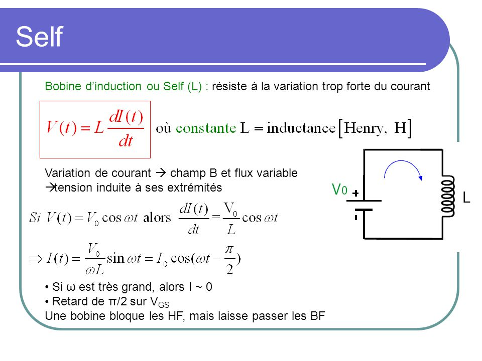 Self Bobine d'induction ou Self (L) : résiste à la variation trop forte du courant. Variation de courant  champ B et flux variable.