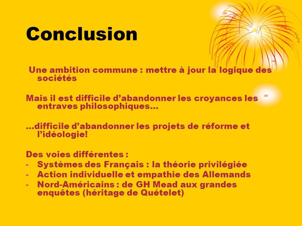 Conclusion Une ambition commune : mettre à jour la logique des sociétés.