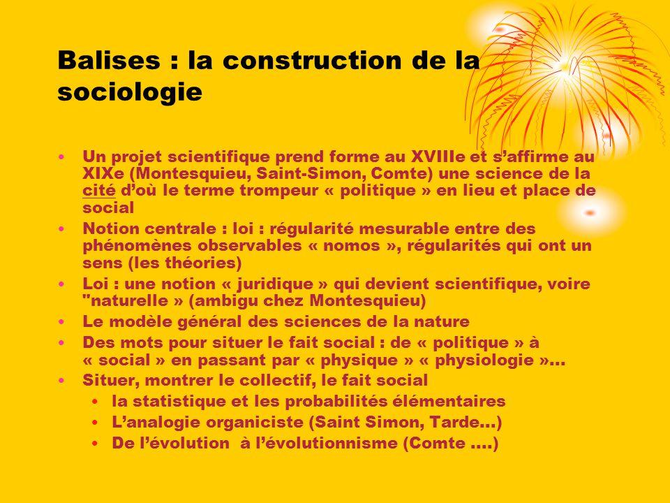 Balises : la construction de la sociologie
