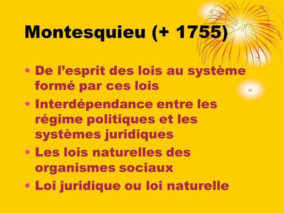 Montesquieu (+ 1755) De l'esprit des lois au système formé par ces lois. Interdépendance entre les régime politiques et les systèmes juridiques.