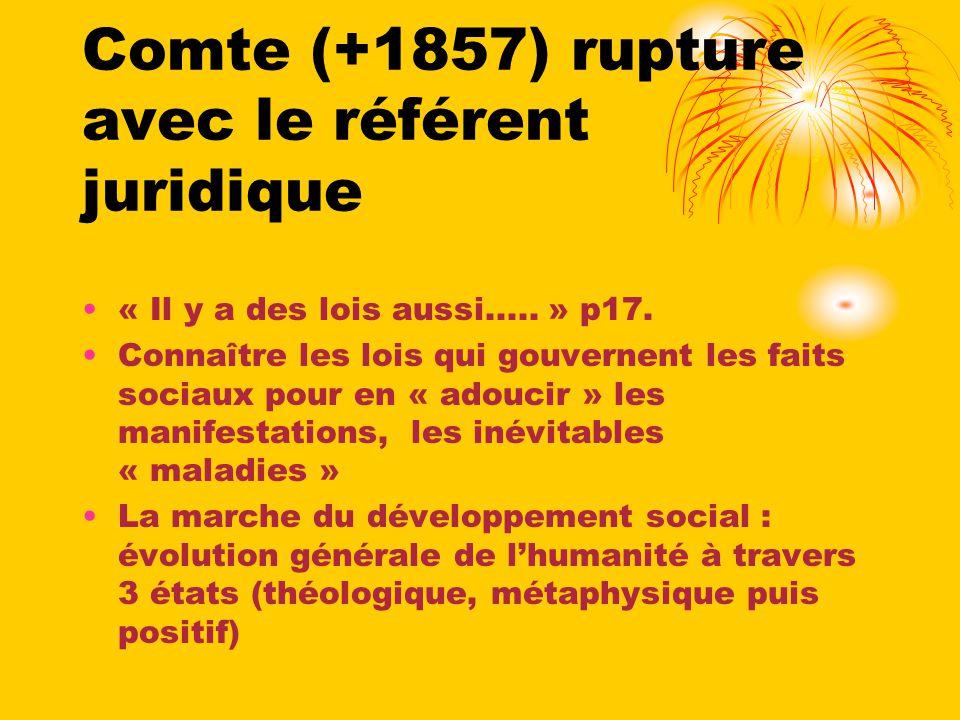 Comte (+1857) rupture avec le référent juridique