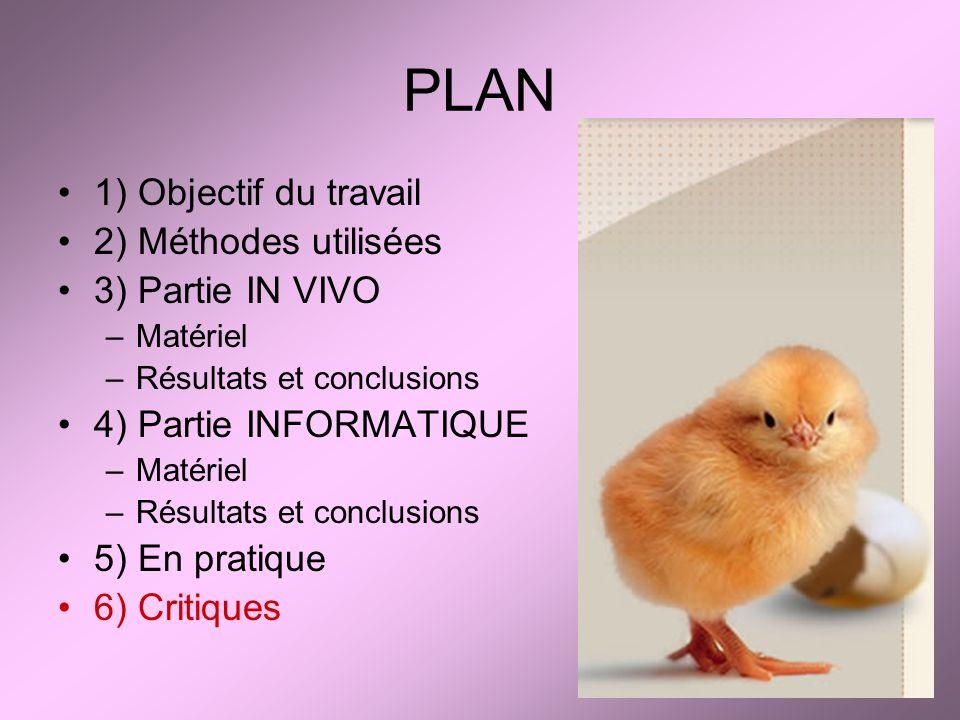 PLAN 1) Objectif du travail 2) Méthodes utilisées 3) Partie IN VIVO
