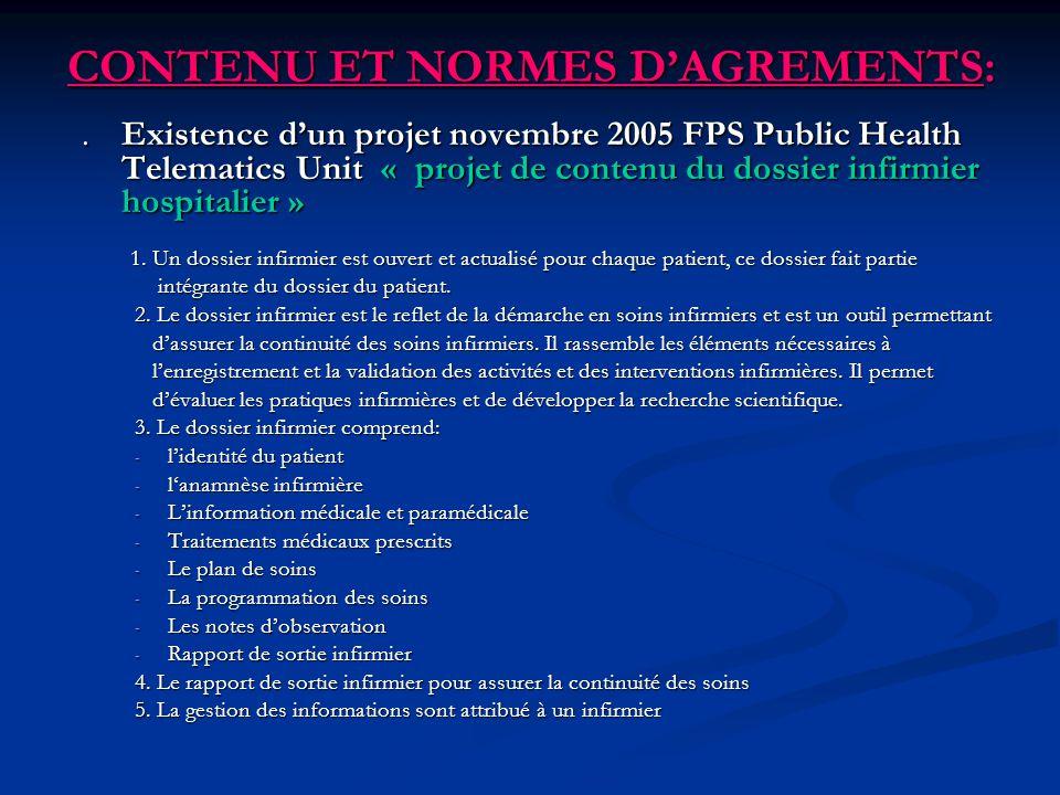 CONTENU ET NORMES D'AGREMENTS: