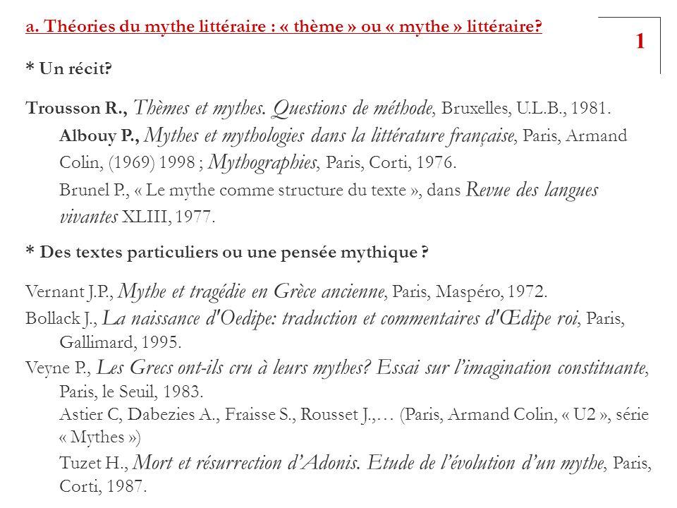 1 a. Théories du mythe littéraire : « thème » ou « mythe » littéraire
