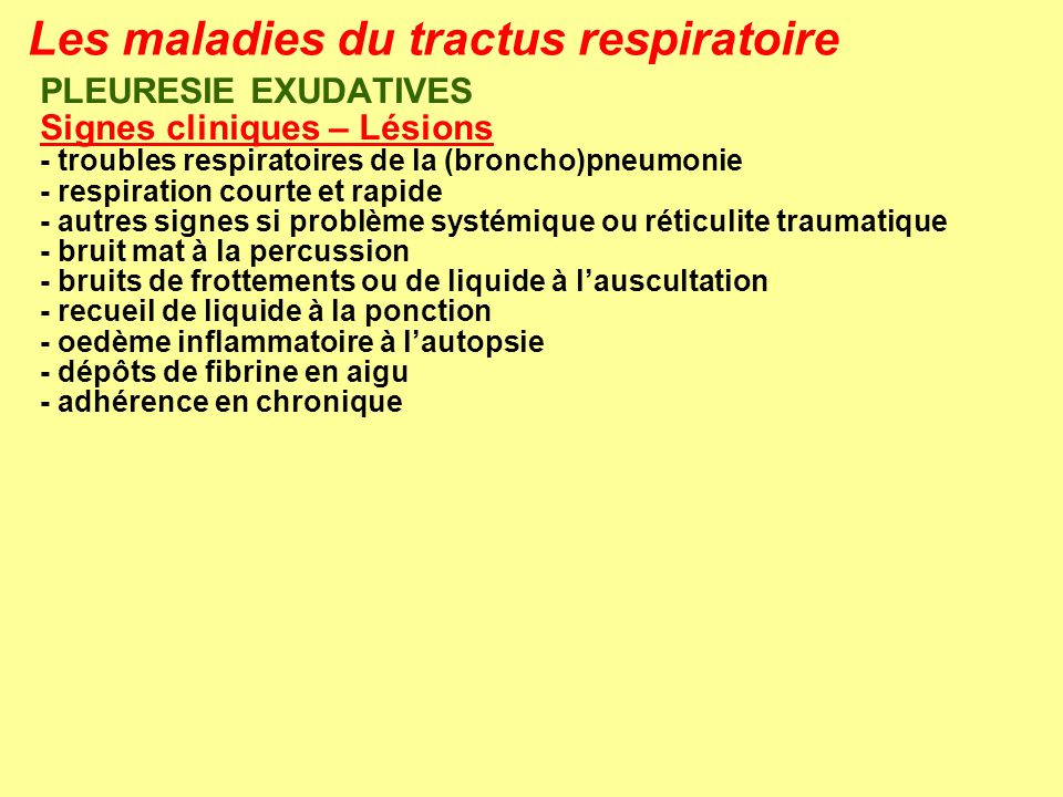 Les maladies du tractus respiratoire