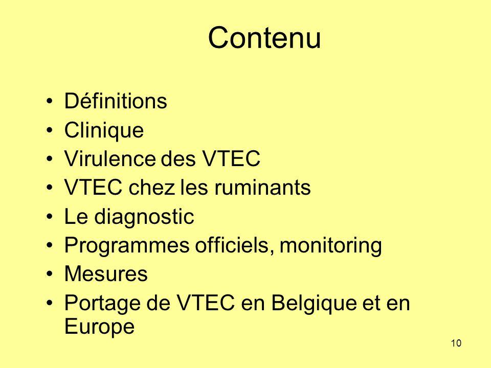Contenu Définitions Clinique Virulence des VTEC