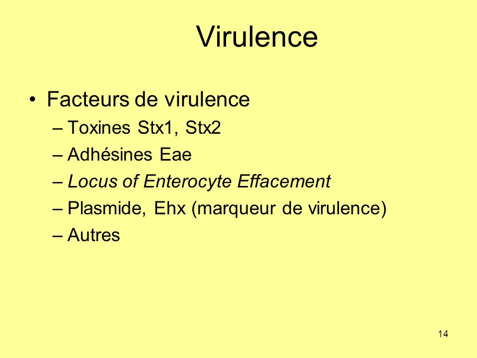 Virulence Facteurs de virulence Toxines Stx1, Stx2 Adhésines Eae