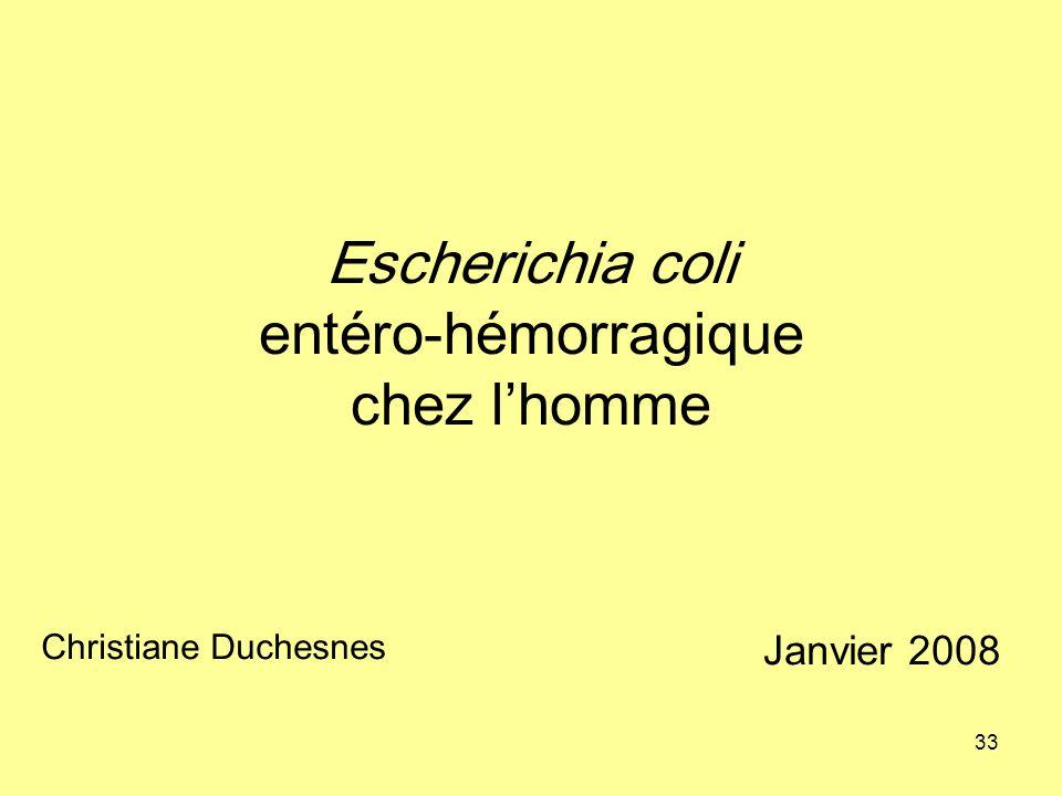 Escherichia coli entéro-hémorragique chez l'homme