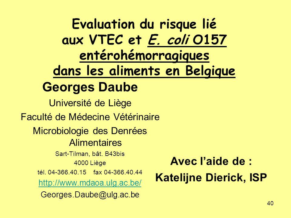 Evaluation du risque lié aux VTEC et E