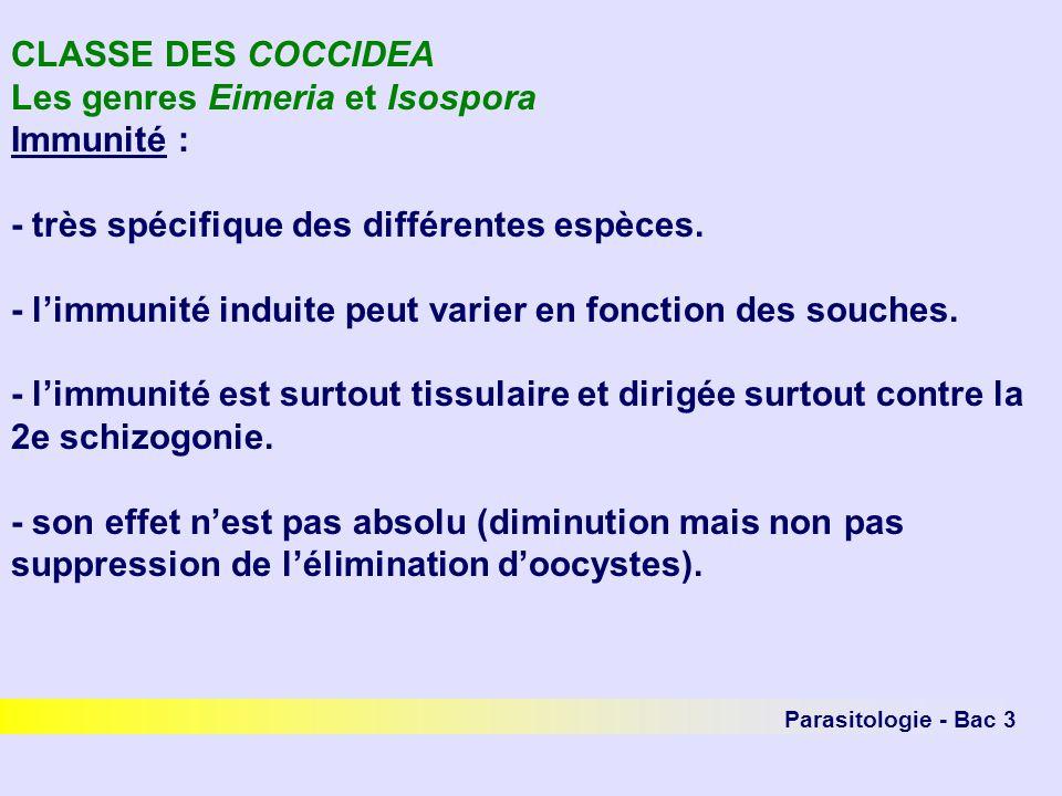 Les genres Eimeria et Isospora Immunité :
