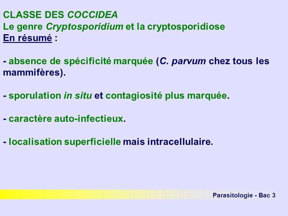 Le genre Cryptosporidium et la cryptosporidiose En résumé :