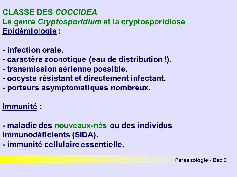 Le genre Cryptosporidium et la cryptosporidiose Epidémiologie :