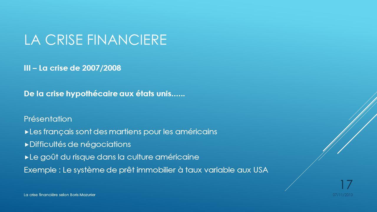 La crise financiere III – La crise de 2007/2008