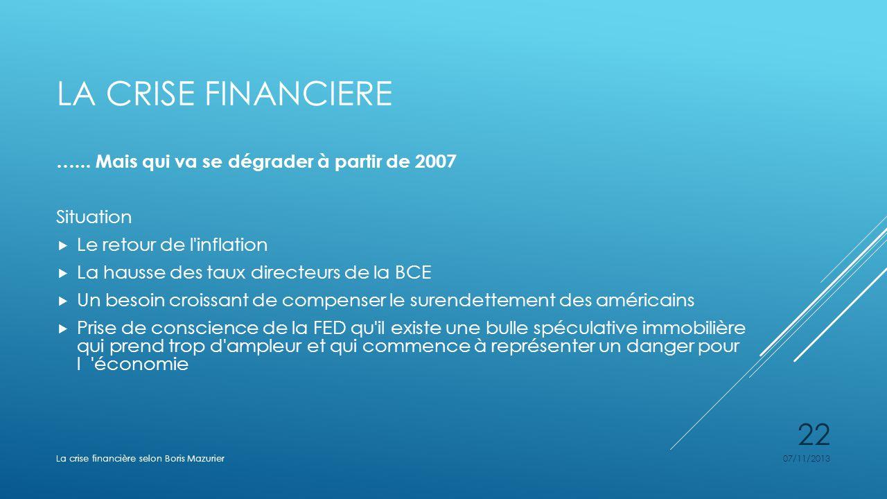 La crise financiere …... Mais qui va se dégrader à partir de 2007