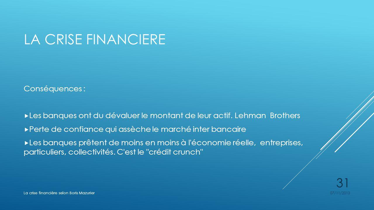 La crise financiere Conséquences :