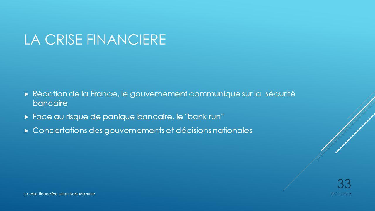 La crise financiere Réaction de la France, le gouvernement communique sur la sécurité bancaire. Face au risque de panique bancaire, le bank run