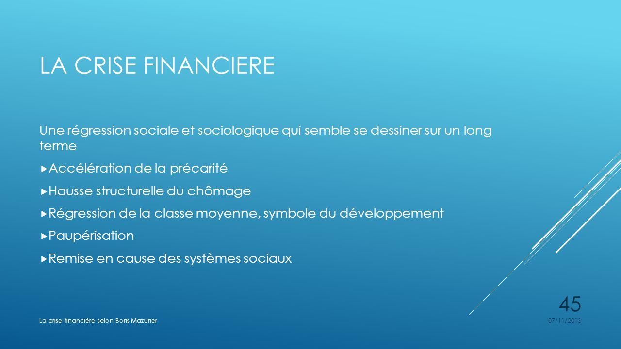 La crise financiere Une régression sociale et sociologique qui semble se dessiner sur un long terme.