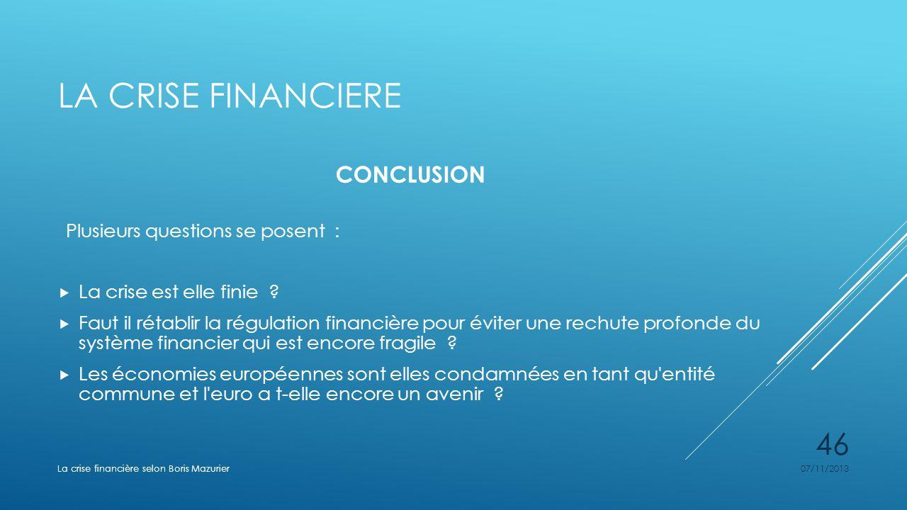 La crise financiere CONCLUSION Plusieurs questions se posent :