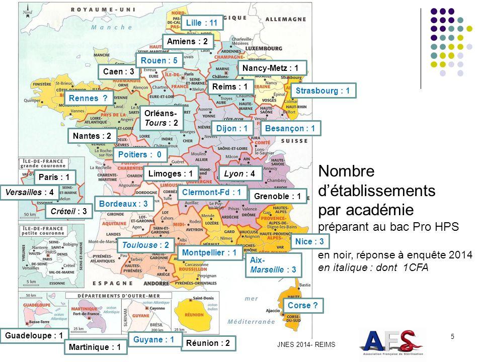 Nombre d'établissements par académie