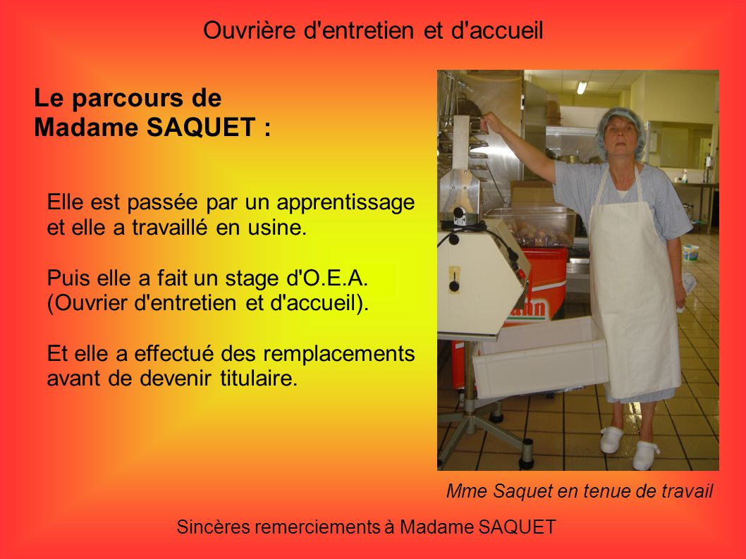 Le parcours de Madame SAQUET :