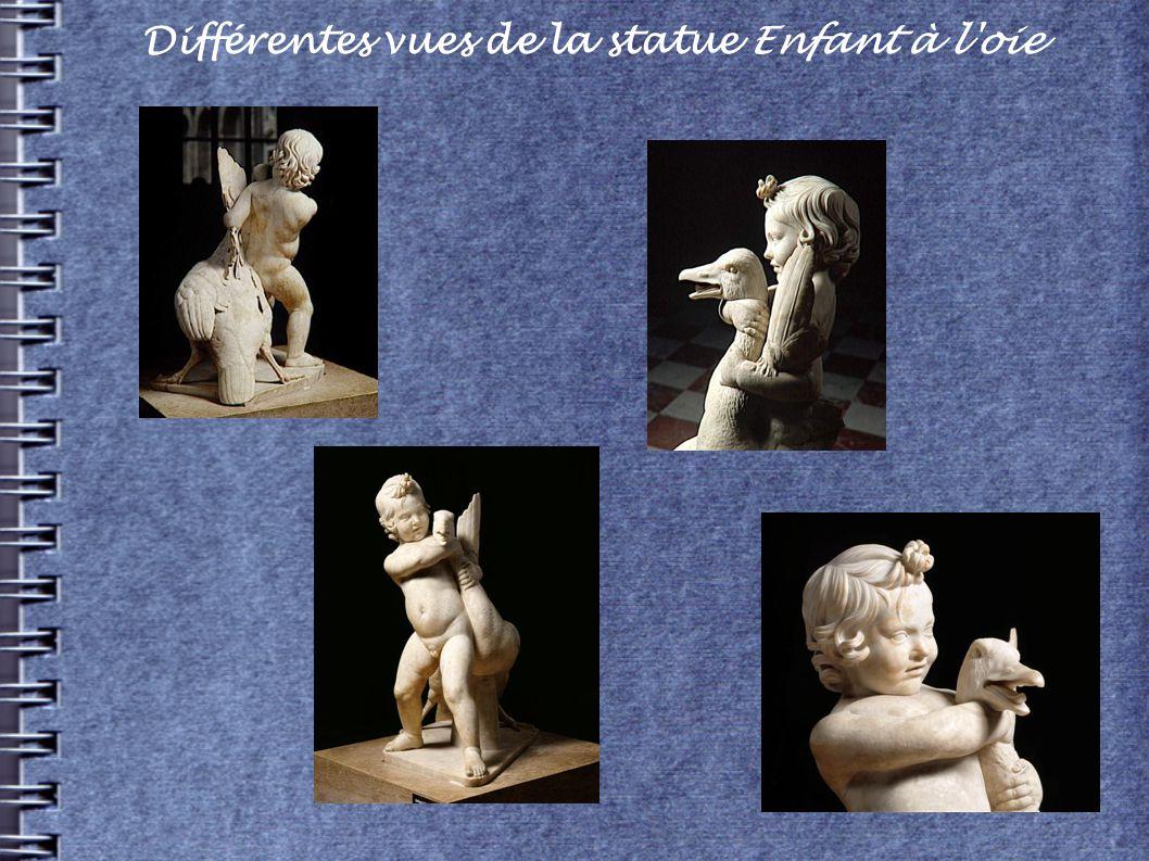 Différentes vues de la statue Enfant à l oie