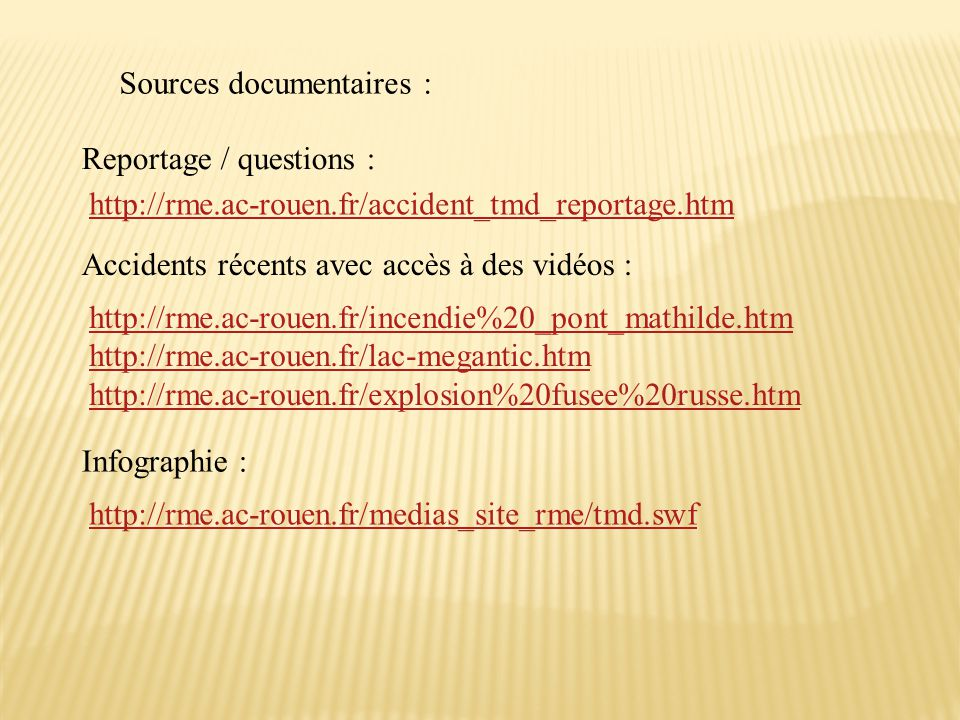 Sources documentaires :