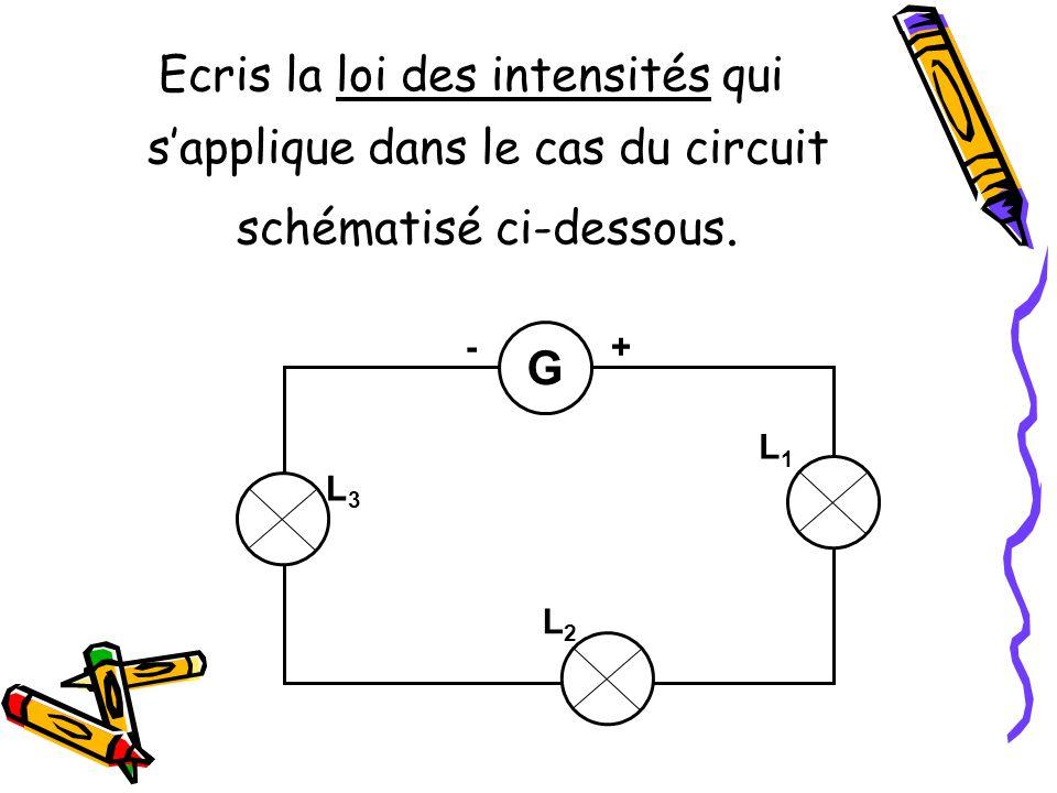 Ecris la loi des intensités qui s'applique dans le cas du circuit schématisé ci-dessous.