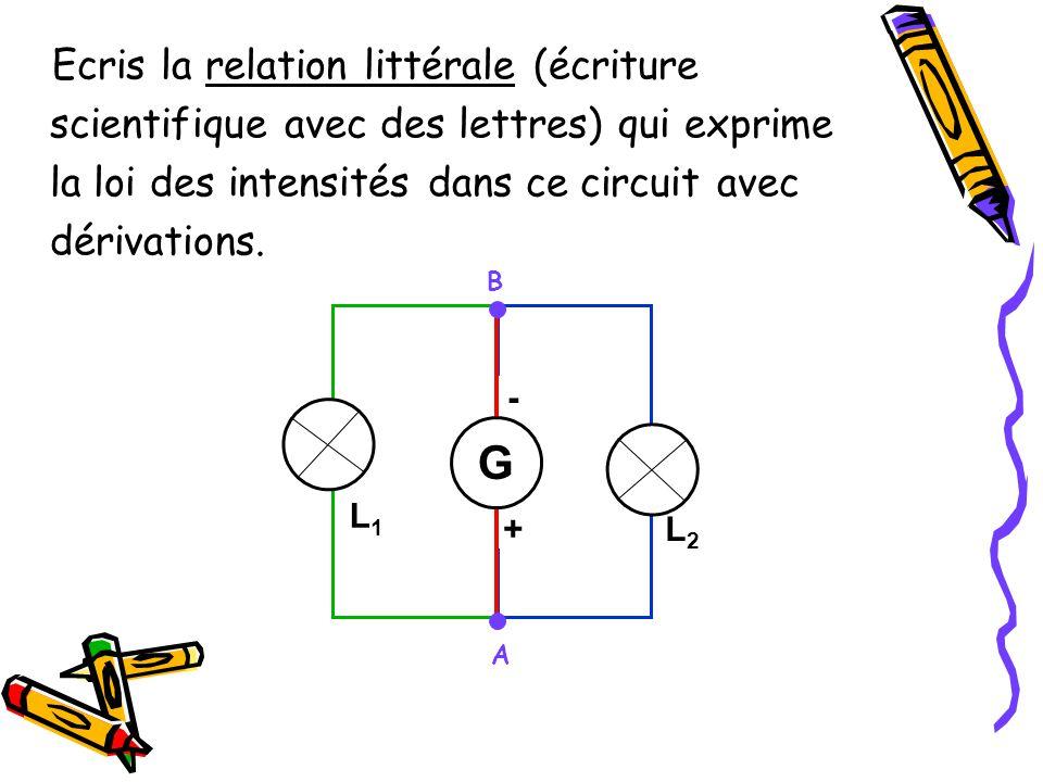 Ecris la relation littérale (écriture scientifique avec des lettres) qui exprime la loi des intensités dans ce circuit avec dérivations.