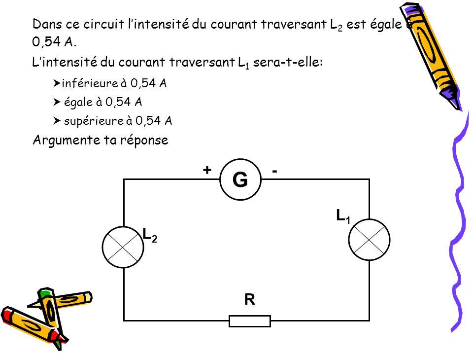 Dans ce circuit l'intensité du courant traversant L2 est égale à 0,54 A.