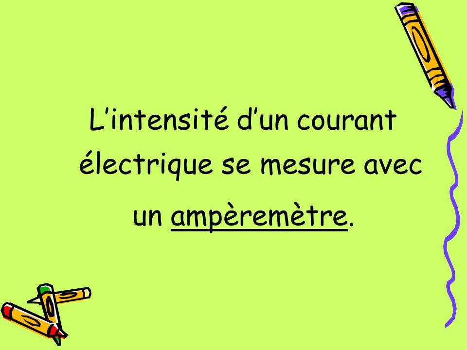 L'intensité d'un courant électrique se mesure avec