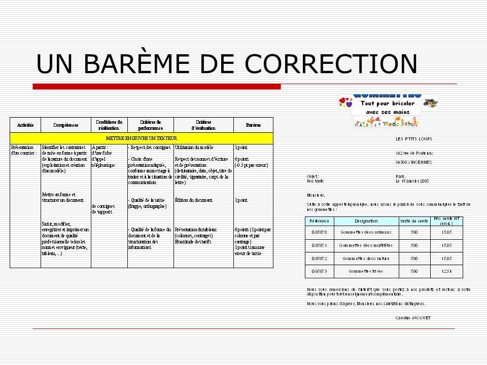 UN BARÈME DE CORRECTION