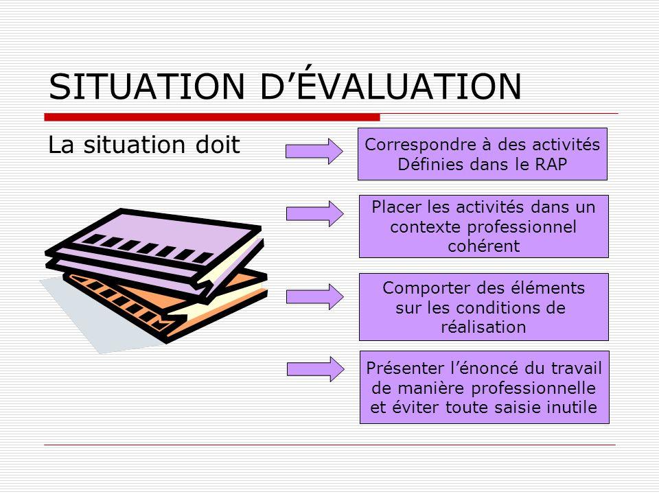 SITUATION D'ÉVALUATION