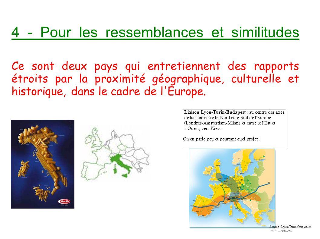 4 - Pour les ressemblances et similitudes Ce sont deux pays qui entretiennent des rapports étroits par la proximité géographique, culturelle et historique, dans le cadre de l Europe.