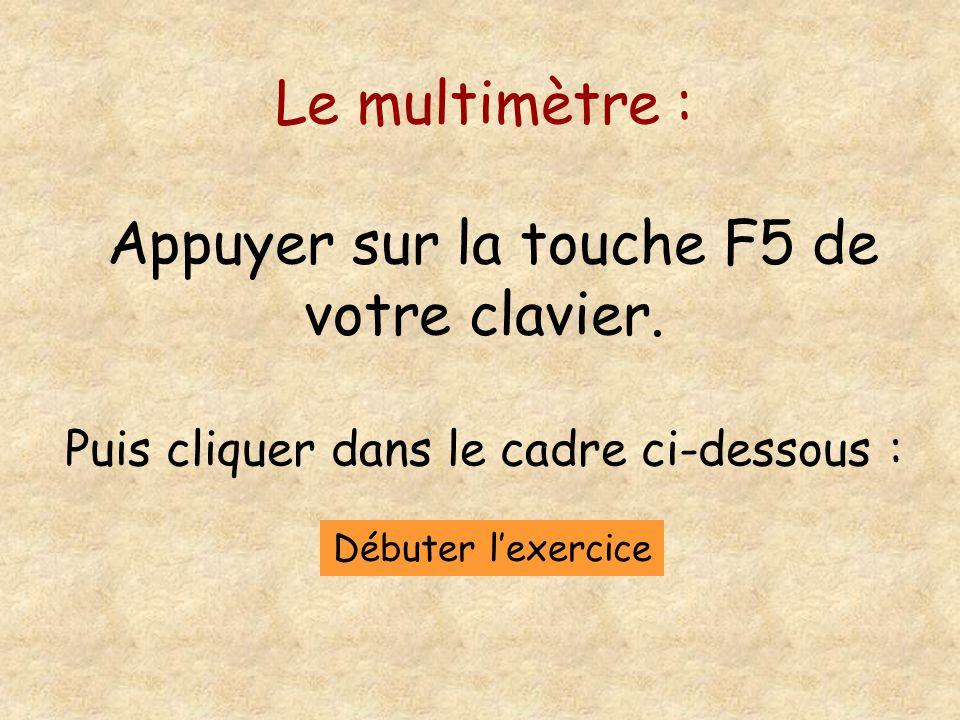 Le multimètre : Appuyer sur la touche F5 de votre clavier