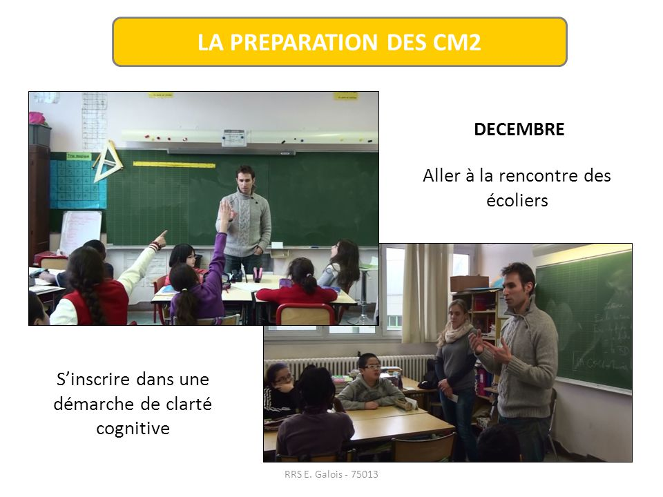 LA PREPARATION DES CM2 DECEMBRE Aller à la rencontre des écoliers
