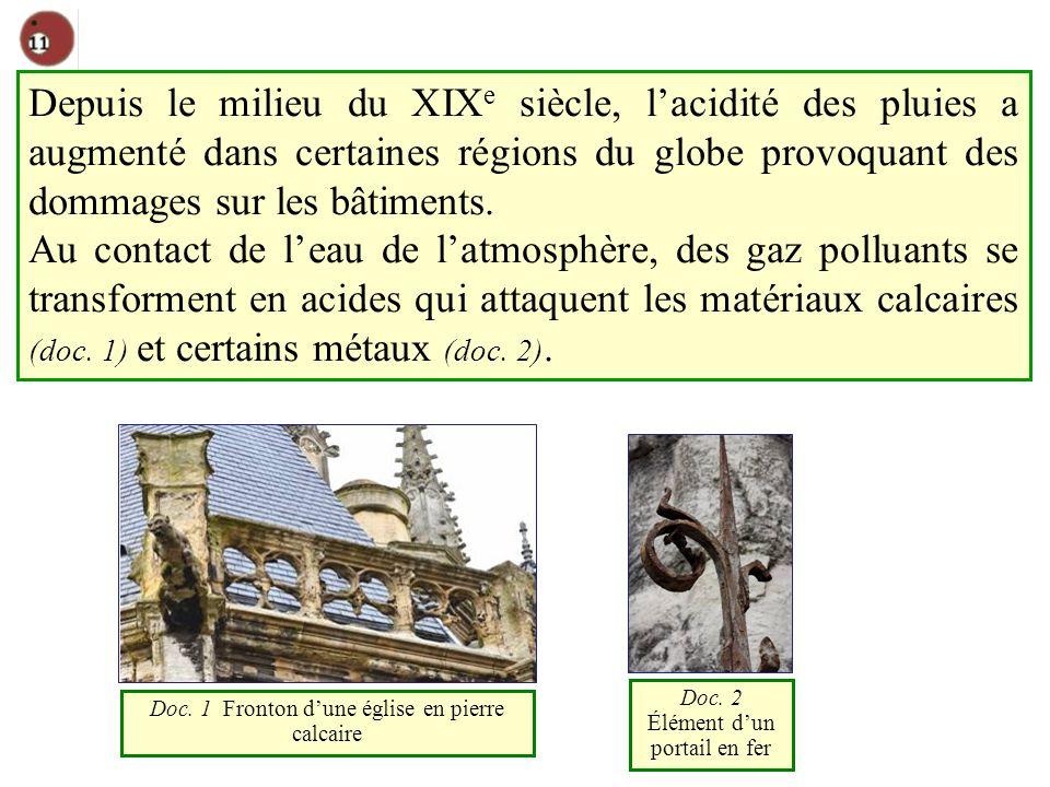 Depuis le milieu du XIXe siècle, l'acidité des pluies a augmenté dans certaines régions du globe provoquant des dommages sur les bâtiments.