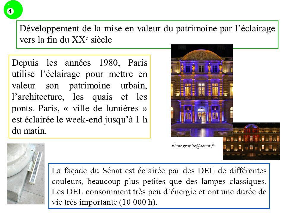 Développement de la mise en valeur du patrimoine par l'éclairage vers la fin du XXe siècle