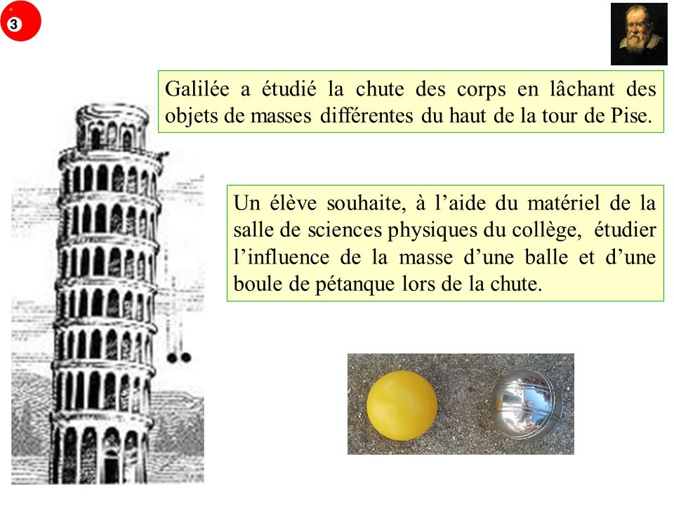 Galilée a étudié la chute des corps en lâchant des objets de masses différentes du haut de la tour de Pise.