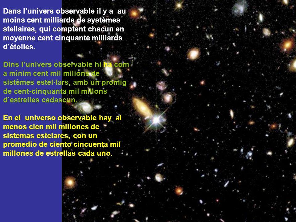 Dans l'univers observable il y a au moins cent milliards de systèmes stellaires, qui comptent chacun en moyenne cent cinquante milliards d'étoiles.