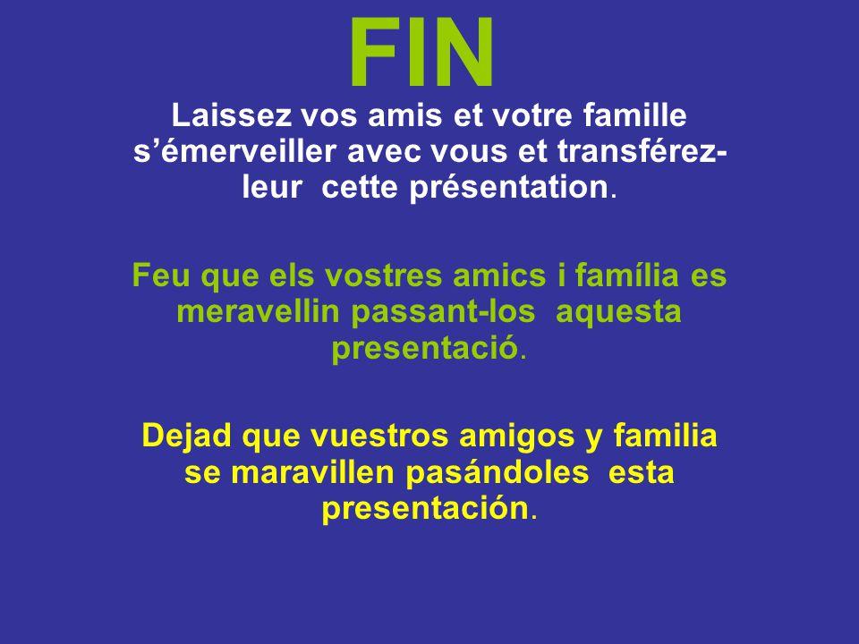 FIN Laissez vos amis et votre famille s'émerveiller avec vous et transférez-leur cette présentation.