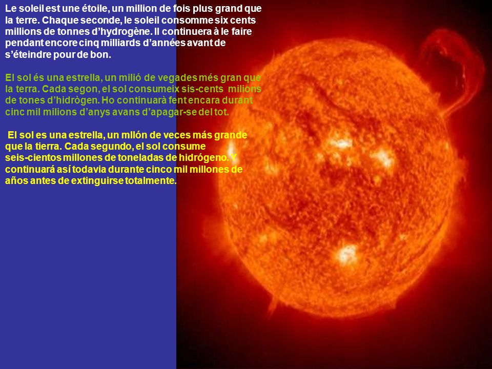 Le soleil est une étoile, un million de fois plus grand que la terre