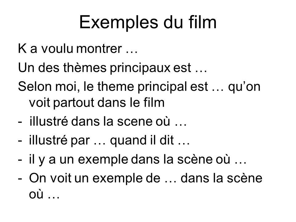 Exemples du film K a voulu montrer … Un des thèmes principaux est …