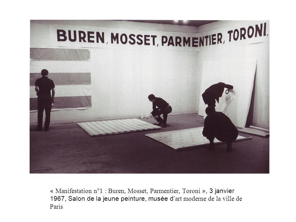 « Manifestation n°1 : Buren, Mosset, Parmentier, Toroni », 3 janvier 1967, Salon de la jeune peinture, musée d'art moderne de la ville de Paris