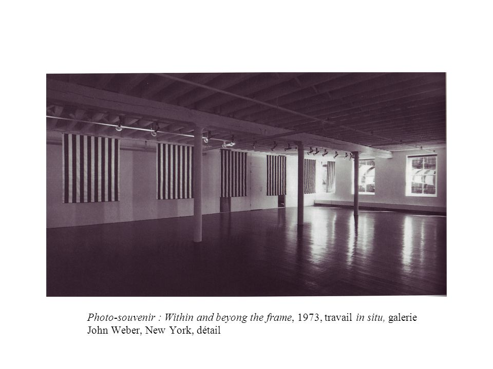 Photo-souvenir : Within and beyong the frame, 1973, travail in situ, galerie John Weber, New York, détail